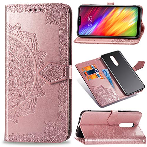(LG Q9 Case, LG G7 Fit Floral Totem Mandala Wallet Case Premium PU Leather Magnetic Flip Cover Shock Resistant Flexible Soft TPU Slim Protective Bumper Card Slots Kickstand Lanyard for LG Q9 Rose Gold)