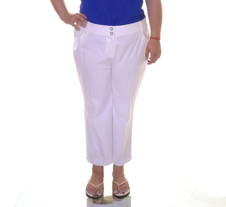Alfani Womens Plus Comfort Waist Solid Capri Pants