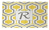 Manual Woodworkers & Weavers Dobby Bath Rug, 4 by 6-Feet, Monogrammed Letter R, Yellow Honeycomb