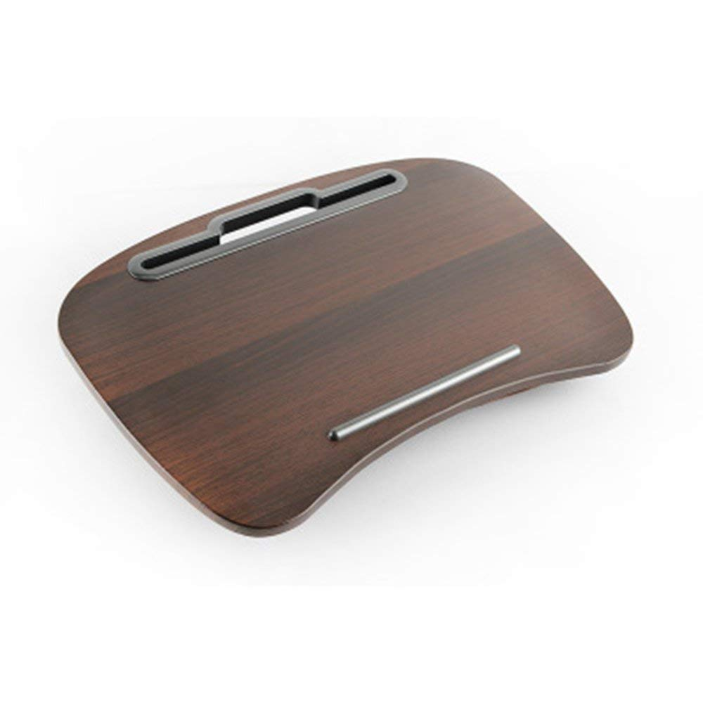 JZX Lazy Table- Laptop Desk Portable Multi-Function Cushion Computer Lap Stand, Writing Reading Knee Pad, Ipad Tablet, Portable Hand Pillow, Round Walnut Save Space