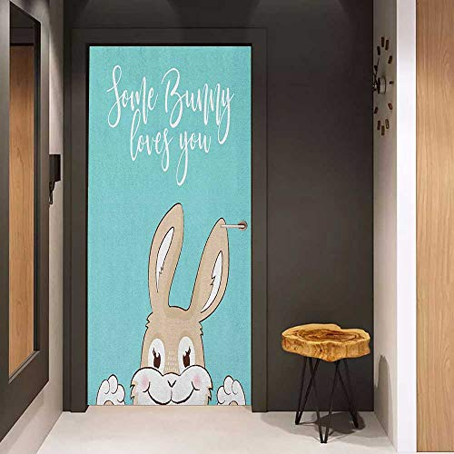 Onefzc Door Sticker Mural Quote Some Bunny Loves You Text and a Funny Friendly Rabbit with a Big Smile WallStickers W38.5 x H77 Pale Blue Tan and White