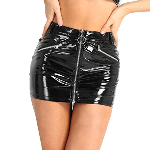 YiZYiF Women PVC Leather Wet Look Zipper Front Bodycon Clubwear Mini Skirt Black X-Large