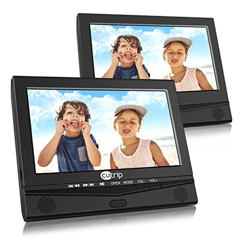 "10.1"" Dual Screen Portable DVD Player with Car Headrest Mount Holder, 5 Hours Rechargeable Battery Car Headrest DVD Player"