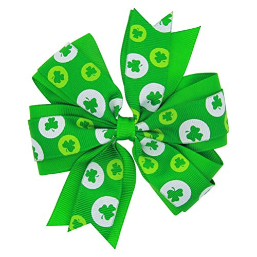 BESTOYARD 1pcs St Patricks Day Baby Girls Ribbon Hairbow Hairpins Shamrock Headdress Hair Accessoriess