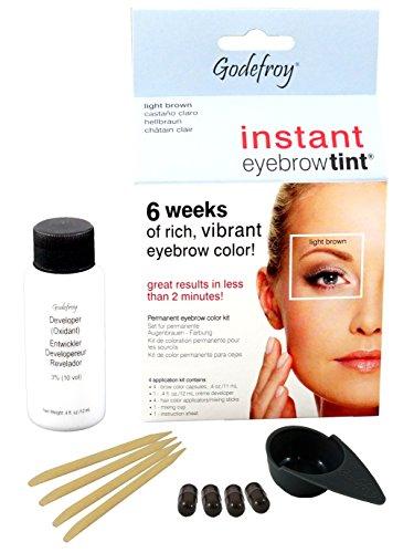 Godefroy InstantEyebrowTint, Augenbrauen - Färbeset für Endverbraucher, hellbraun, 1er Pack (1 x 4 Stück)