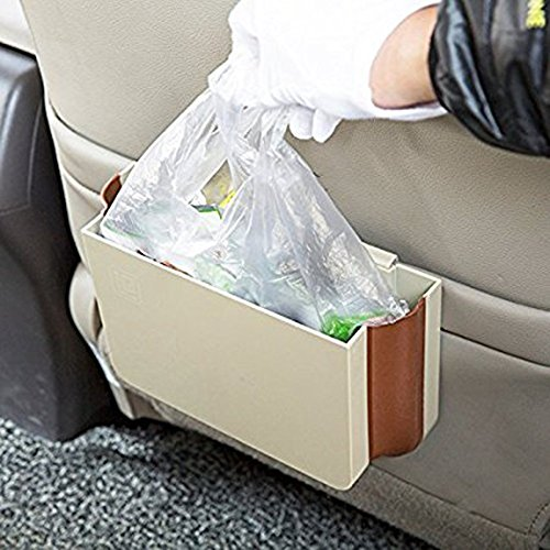 E-accexpert® 1 PCS 2015 Creative Living Automotive Folding Garbage Bin Car Litter Bag Trash Pouch Vehicular Trash Can for Car (Beige)