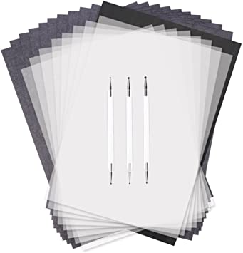 Canvas Paper 100 Sheets Carbon Transfer Paper,White Color 11.7x 8.3 Transfer Paper with Embossing Stylus Set for Transfer Pattern on Wood