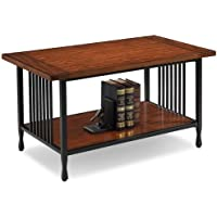 Home Matte Black Slatted Metal Base Condo/ Apartment Burnished Mission Oak Coffee Table
