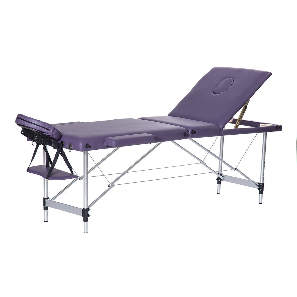 Homgrace Portable Massage Table 3 Fold Aluminum Alloy Frame for Facial SPA Bed/SPA Therapy/Beauty Salon (Purple)
