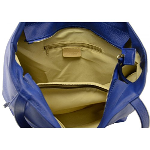 Italia En Azul Mujer Bolso Piel Verdadera Color Peleteria Echa Shopper vqH8wZ