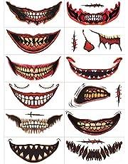 12 Stycken Clown Mouth Tattoo Stickers Miljövänliga Ansikts Tatueringar Klibbar På Halloween Tatuering Skalle Realistiska Zombie Tatuering Klistermärken För Män/Kvinnor/Barn