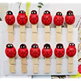 Lovely Peach Heart Craft Wooden Banner Clips Pegs Prefect for Party Event Wedding Decoration (Red ladybug)
