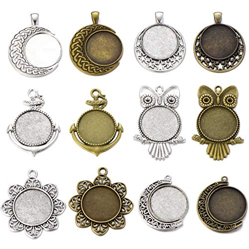 (12 Pcs 25mm Antique Bronze Antique Silver Owl Moon Flower Anchor Round Blank Bezel Pendant Trays Base Cabochon Settings Trays Jewelry Making Charms )