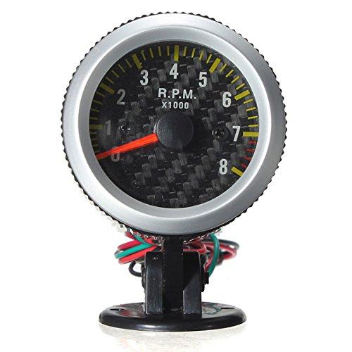 (Car Auto Yellow LED Rev Tachometer Gauge RPM Carbon Fiber Face)