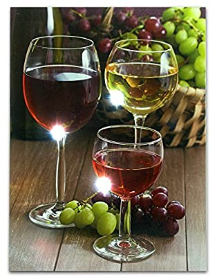 Wine Decor Wall Art with LED Lights - Canvas Print - Wine Glasses with Wine Bottle and Grapes Picture - 16x12 Inch