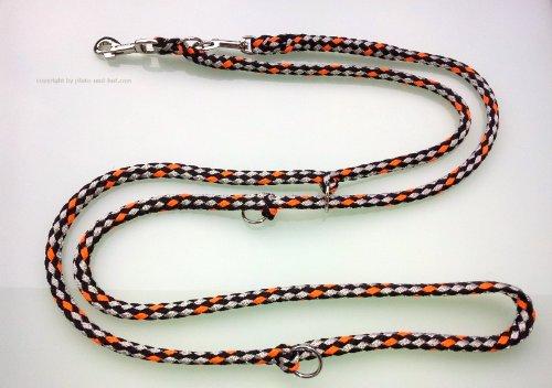Hundeleine Doppelleine 2,80m 4fach verstellbar schwarz-grau-orange