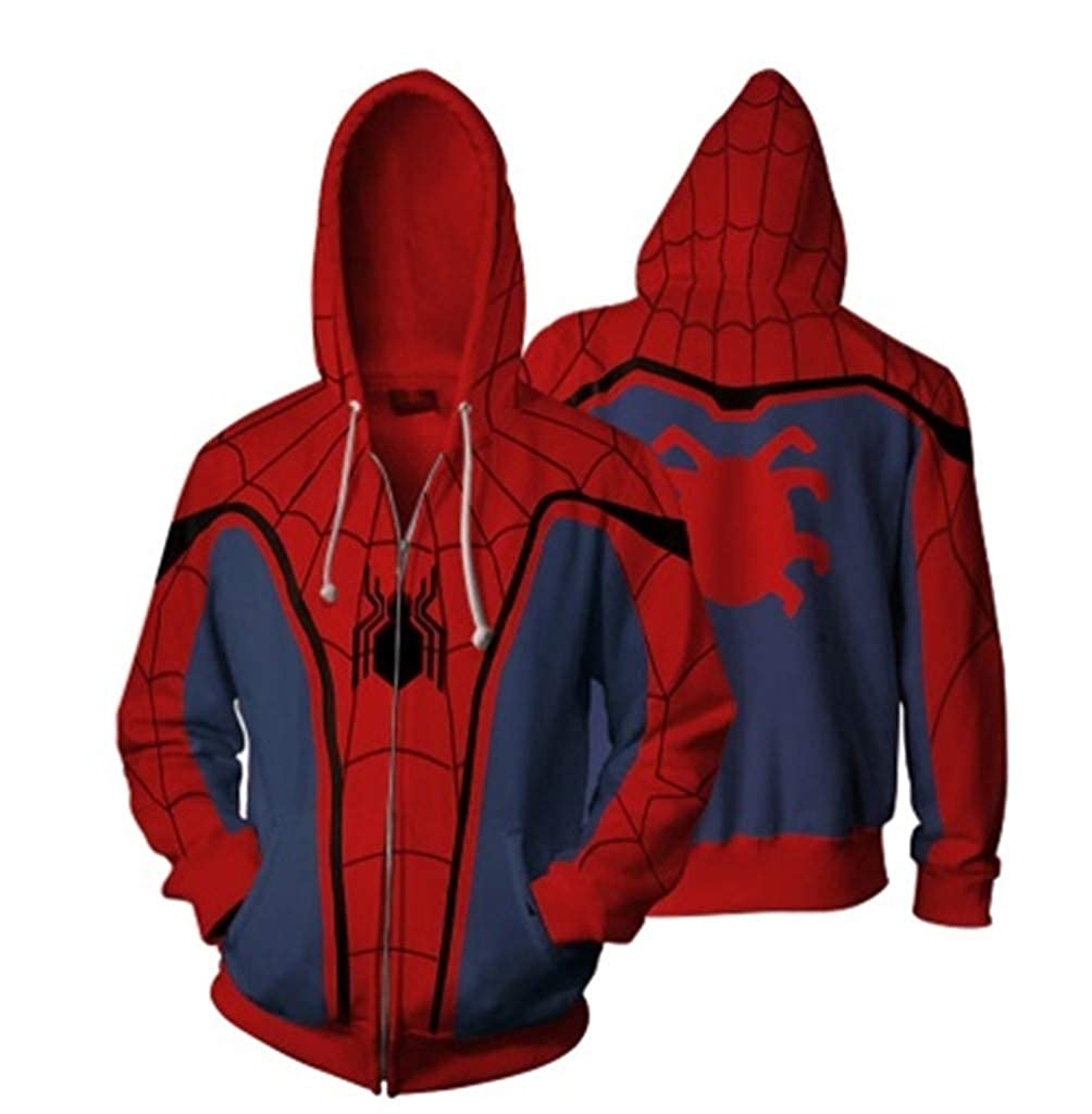 Superhero The Spider Hoodies Iron Spider Casual Thin Zipper Coat Outfit