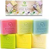Bar Soap Body Bath Eczema - 6 Pc Natural Hand Face Soap Shea Butter, Soap Variety Gift Box Set Vegan Bath Soap with Essential Oil Sensitive Skin Moisturizer for Women Men Sisal Saver Included