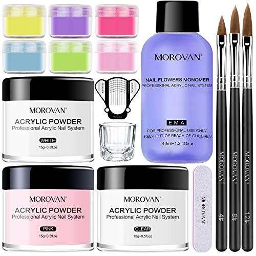 Morovan Acrylic Nail Kit Acrylic Powder with Professional Liquid Monomer For Nail Extension Acrylic Nail Brush Nail Art Starter Kit
