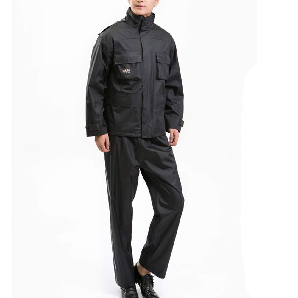 Noir Medium ZHANGQIANG-Combinaison de Pluie vêteHommests de Pluie VêteHommests De Pluie Imperméables Pantalons De Veste Mis Manteau De Pluie pour Hommes Haute Visibilité (Couleur   gris Camouflage, Taille   S)