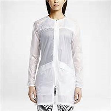 Chaqueta de entrenamiento transparente blanca Nike para mujer 648575 (M)