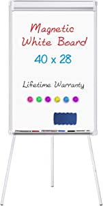 Easel White Board - Magnetic Tripod Whiteboard Portable Dry Erase Board 40 x 28 inches Flipchart Easel Board Height Adjustable, Stand White Board