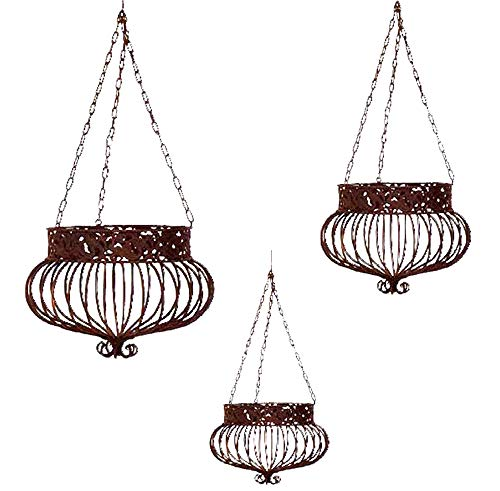 Set of 3 Victorian Hanging Planters Wrought Iron Rust