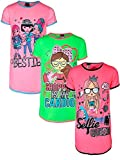 Angel Face Girls Short Sleeve Nightgowns Pajama - 3 Pack, Selfie Queen, Size 12'
