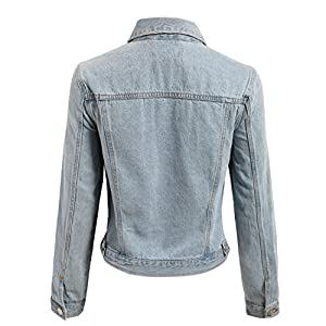 makeitmint Women's Distressed Long Sleeve Denim Jacket w/Pockets Small YJZ0059_Light