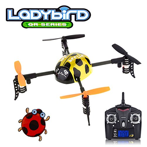 QR series Ladybird – WLToys V939 4CH 2.4GHz Micro Quad 4-Axis Mini UFO Style RC Helicopter Yellow – Multirotor Quadcopter – RTF Ready to Fly with Transmitter Tx Included, color may vary.