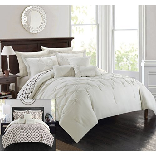 Chic Home 10 Piece Dorothy Comforter Set, King, Beige (King Piece 10 Bedding)