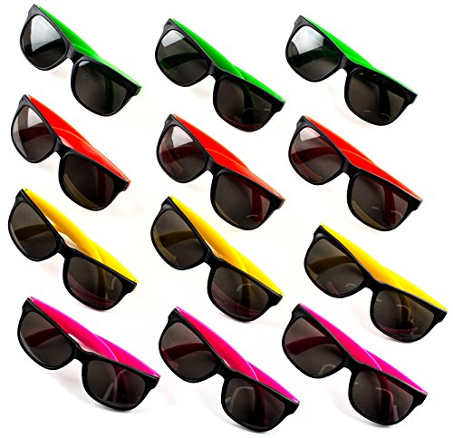24 Neon Sunglasses For Kids and Adults - Bulk Party Favors for Kid, Goody Bag Fillers, Stocking Stuffers, Bulk Party Pack of 2 Dozen by - Kids Sunglasses With