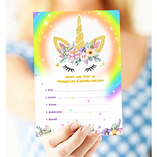 Aytai 20pcs Rainbow Unicorn Birthday Invitations with Envelopes + Thank You Tags, Party Invitation Cards for Kids Birthday Baby Shower Unicorn Party Supplies (Floral) by Aytai (Image #5)