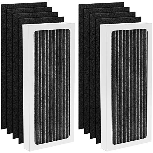 iSingo 04383 True HEPA Filter Replacement Compatible for Hamilton Beach TrueAir 04383 Air Purifier Models 04383 04384 04385, 2 True HEPA Filters & 8 Activated Carbon Pre-Filters, Part# 990051000