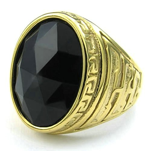 Stainless Steel Ring for Men, Oval Ring Gothic Black Band Gold 20MM Size 10 (Funny Golf Costumes Australia)