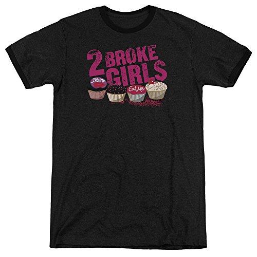2 Broke Girls Cupcakes Unisex Adult Ringer T Shirt For Men and Women