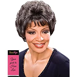 Elizabeth Wig Color F2216 - Foxy Silver Wigs Short Hand-Stitched Full Volume Wispy Bangs African American Lightweight Average Cap Bundle w/MaxWigs Hairloss Booklet