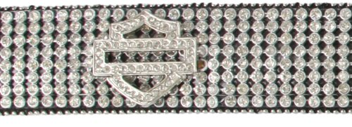 Harley-Davidson Womens Saturday Night Western B&S Crystal Panel Leather Belt by LODIS