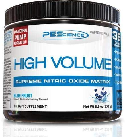 PEScience High Volume, Blue Frost, 36 Scoop, Caffeine-Free Preworkout
