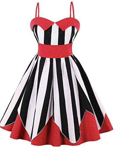 Ayli Women's Vintage Halter Polka Dot and Stripes 1950s Retro Cocktail Dress, (Polka Dot Cocktail Dresses)