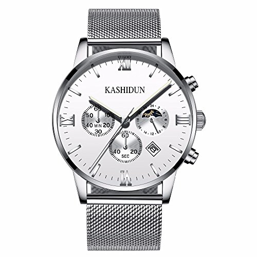 KASHIDUN Men's Watches Casual Quartz Waterproof Watch White Dial Silver Mesh Alloy Band-White ZH-YBsd (White Watch Mesh Dial)