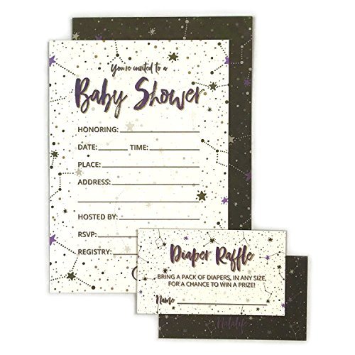Baby Shower Invitation Cards with Diaper Raffle Tickets for Boy and Girl - Stars Explorer - Set of 25 Party Invites - by -
