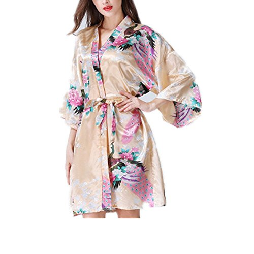 eleganceoo Women s Printing Peacock Kimono Robe Nightgown Bathrobe Bridal  Robe(Beige Large) c2b1e5c9c