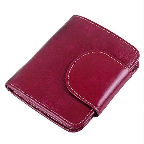 Price comparison product image Kaimao Women Men Fashion Real Leather Purse Zipper Short Mini Wallet Purses Card Holder Purple