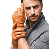 Nappaglo Men's Genuine Nappa Leather Winter Gloves Hand-knitted Touchscreen Driving Mittens (XL (Palm Girth:9''-9.5''), Tan (Non-Touchscreen))