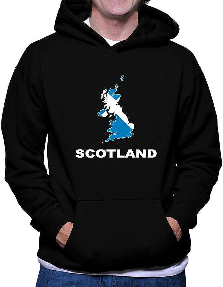 Teeburon Scotland Country Map Color Hoodie