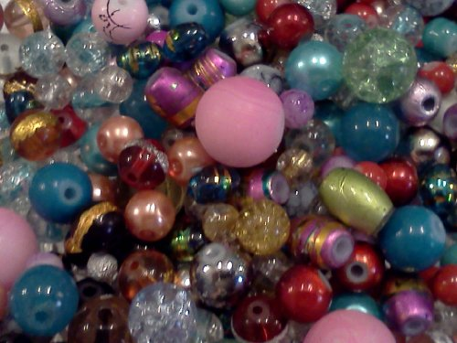 Half-pound Glass Bead Mix, 4-18mm, Assorted Colors and Shapes, Bulk Lot