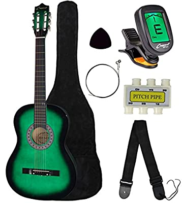 "Crescent MG38-NR 38"" Acoustic Guitar Starter Package, Natural (Includes CrescentTM Digital E-Tuner)"