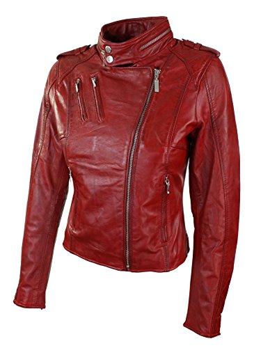 Femme Coupe Cuir Red Véritable Originale Doublure Velours Cintrée Rouge Veste Style BIwTxPdnqI