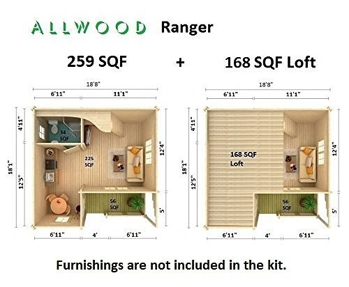 Allwood Ranger Kit Cabin 259 Sqf 168 Sqf Lofthe Shed